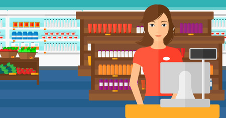 A saleslady standing at checkout on the background of supermarket shelves with products vector flat design illustration. Horizontal layout.