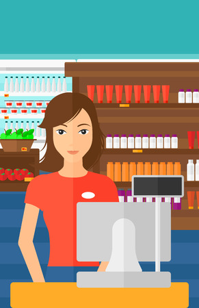 A saleslady standing at checkout on the background of supermarket shelves with products vector flat design illustration. Vertical layout.