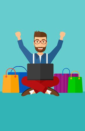 A hipster man with the beard sitting in front of laptop with hands up and some bags of goods nearby on a blue background vector flat design illustration. Vertical layout.