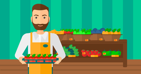 work crate: A hipster man with the beard holding a box with apples on the background of shelves with vegetables and fruits in supermarket vector flat design illustration. Horizontal layout.