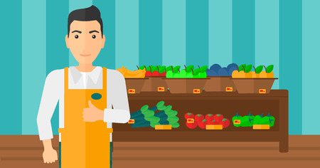 fruit stand: A supermarket worker showing thumb up on the background of shelves with vegetables and fruits in supermarket vector flat design illustration. Horizontal layout. Illustration