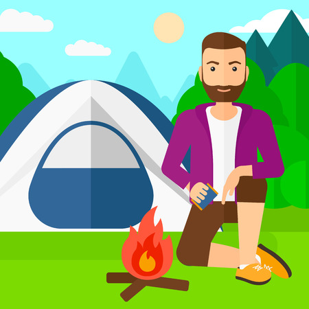 A hipster man with the beard kindling a fire on the background of camping site with tent vector flat design illustration. Square layout.