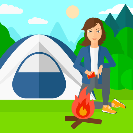kindle: A woman kindling a fire on the background of camping site with tent vector flat design illustration. Square layout.