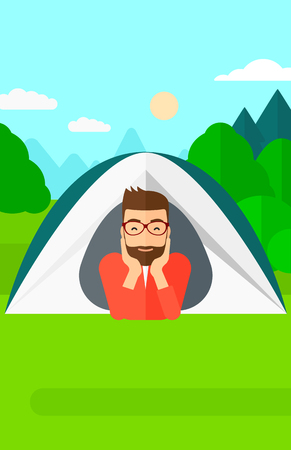 forest trees: A hipster man with the beard crawling out from a tent on the background of forest vector flat design illustration. Vertical layout.