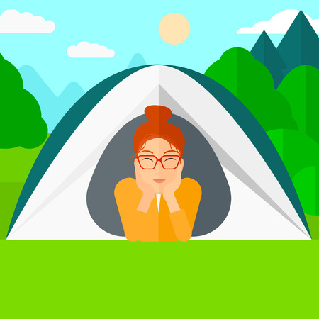 crawling: A woman crawling out from a tent on the background of forest vector flat design illustration. Square layout. Illustration