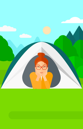crawling: A woman crawling out from a tent on the background of forest vector flat design illustration. Vertical layout.