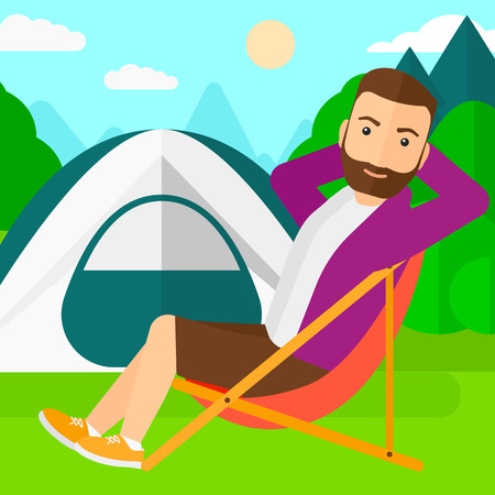 A hipster man with the beard sitting in a folding chair on the background of camping site with tent vector flat design illustration. Square layout.