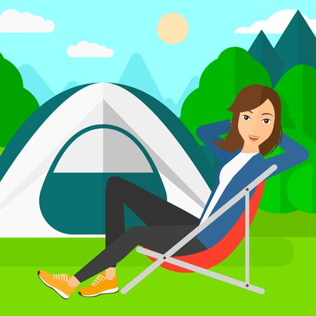 camping site: A woman sitting in a folding chair on the background of camping site with tent vector flat design illustration. Square layout.