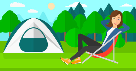 camping site: A woman sitting in a folding chair on the background of camping site with tent vector flat design illustration. Horizontal layout. Illustration