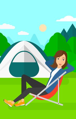 camping site: A woman sitting in a folding chair on the background of camping site with tent vector flat design illustration. Vertical layout.