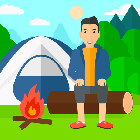 A man sitting on a log near the fire on the background of camping site with tent vector flat design illustration. Square layout.