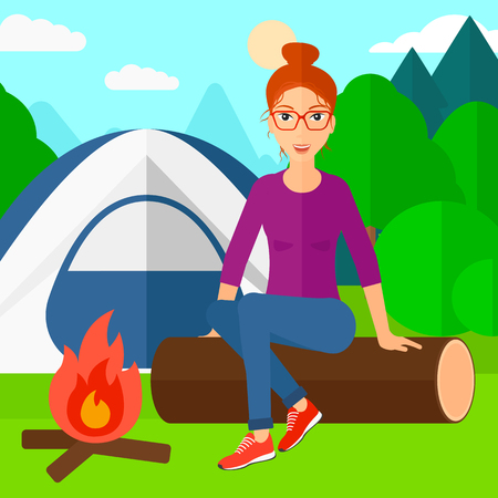 A woman sitting on a log near the fire on the background of camping site with tent vector flat design illustration. Square layout. Vettoriali
