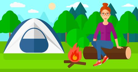 A woman sitting on a log near the fire on the background of camping site with tent vector flat design illustration. Horizontal layout. Vettoriali