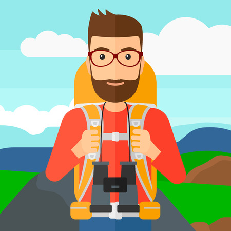 hilly: A hipster man with backpack and binoculars hiking on the background of hilly countryside vector flat design illustration. Square layout.