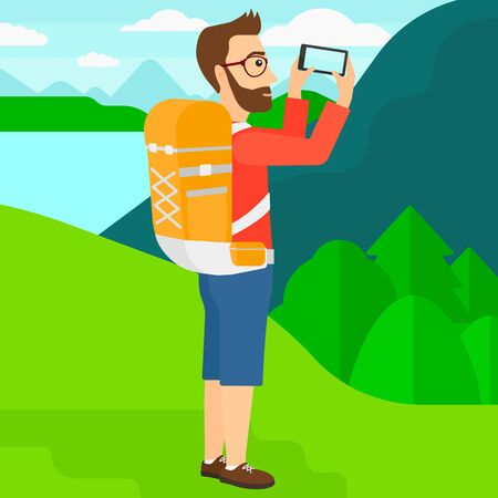 taking photo: A hipster man with the beard taking photo of landscape with mountains and lake vector flat design illustration. Square layout. Illustration