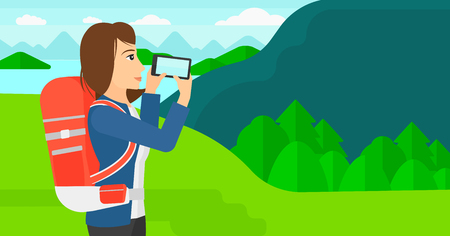 taking photo: A woman taking photo of landscape with mountains and lake vector flat design illustration. Horizontal layout.