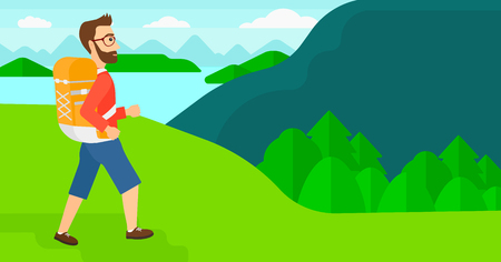 A hipster man with backpack hiking in mountains vector flat design illustration. Horizontal layout.