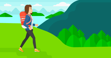 hiking: A woman with backpack hiking in mountains vector flat design illustration. Horizontal layout.
