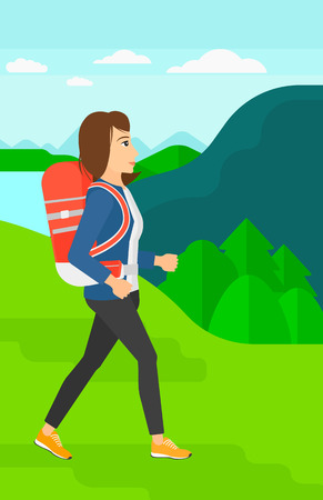 A woman with backpack hiking in mountains vector flat design illustration. Vertical layout.