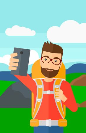 A hipster man with the beard making selfie on the background of hilly countryside vector flat design illustration. Vertical layout.