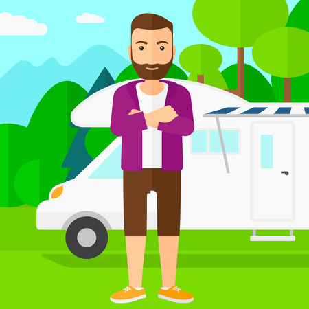 motorhome: A hipster man with the beard standing on the background of motorhome in the forest vector flat design illustration. Square layout. Illustration