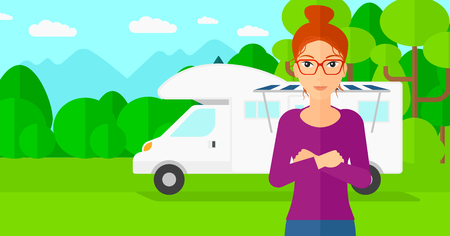motorhome: A woman standing on the background of motorhome in the forest vector flat design illustration. Horizontal layout.