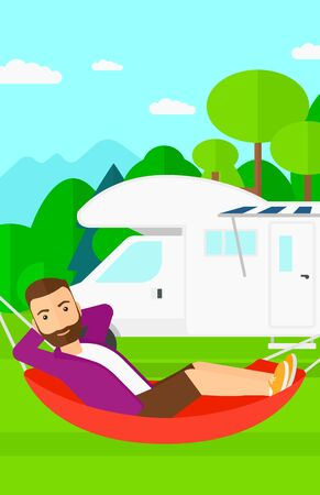A hipster man with the beard lying in a hammock on the background of motorhome in the forest vector flat design illustration. Vertical layout.