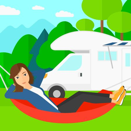 lying in: A woman lying in a hammock on the background of motorhome in the forest vector flat design illustration. Square layout.