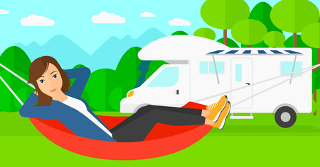 lying in: A woman lying in a hammock on the background of motorhome in the forest vector flat design illustration. Horizontal layout. Illustration