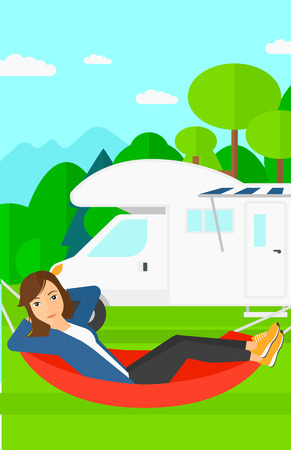lying in: A woman lying in a hammock on the background of motorhome in the forest vector flat design illustration. Vertical layout. Illustration