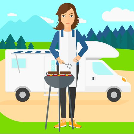 motorhome: A woman preparing barbecue  on the background of motorhome in the forest vector flat design illustration. Square layout.