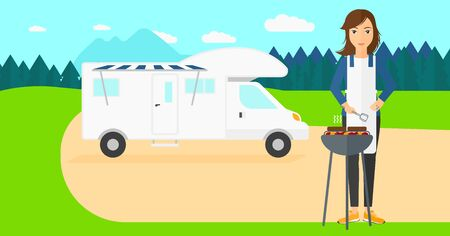 motorhome: A woman preparing barbecue  on the background of motorhome in the forest vector flat design illustration. Horizontal layout.