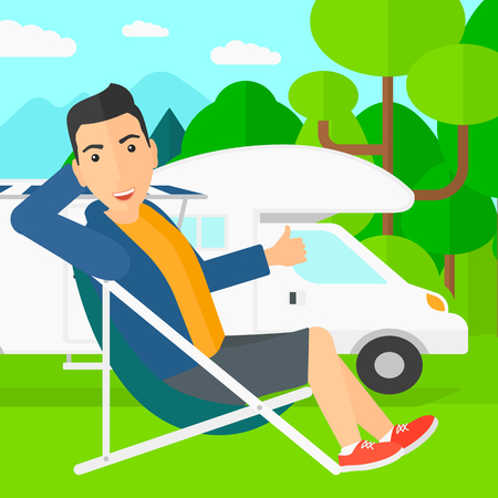 A man sitting in a folding chair and showing thumb up on the background of motorhome in the forest vector flat design illustration. Square layout.