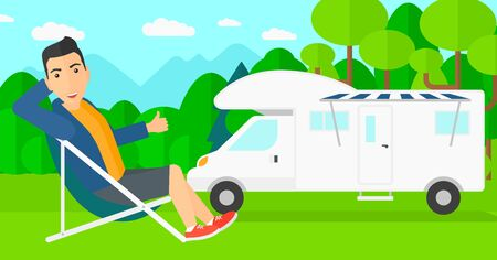 motorhome: A man sitting in a folding chair and showing thumb up on the background of motorhome in the forest vector flat design illustration. Horizontal layout. Illustration