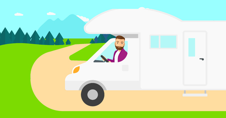 motor home: A hipster man with the beard driving a motor home in the forest vector flat design illustration. Horizontal layout. Illustration