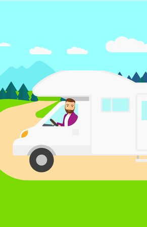 motor home: A hipster man with the beard driving a motor home in the forest vector flat design illustration. Vertical layout.
