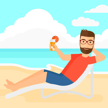 A hipster man with the beard sitting in a chaise longue and holding a cocktail in hand on the background of sand beach with blue sea vector flat design illustration. Square layout.