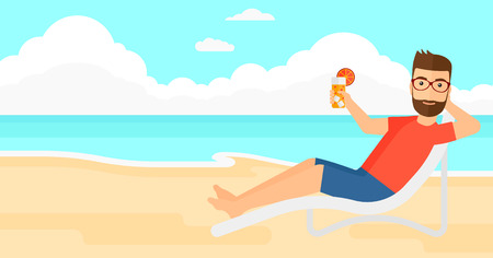 longue: A hipster man with the beard sitting in a chaise longue and holding a cocktail in hand on the background of sand beach with blue sea vector flat design illustration. Horizontal layout.