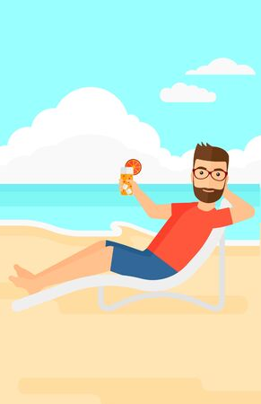 longue: A hipster man with the beard sitting in a chaise longue and holding a cocktail in hand on the background of sand beach with blue sea vector flat design illustration. Vertical layout.