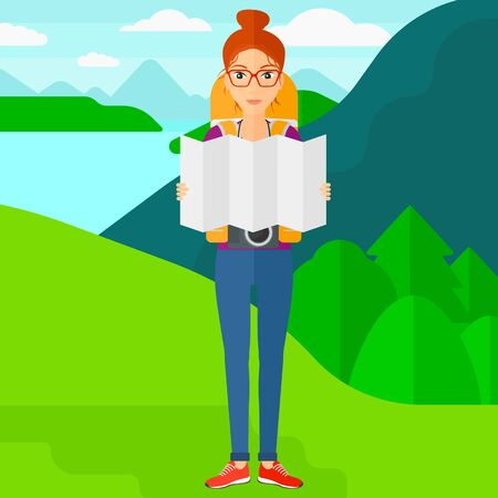 A woman with a camera looking at a map on the background of landscape with mountains and lake vector flat design illustration. Square layout. 向量圖像