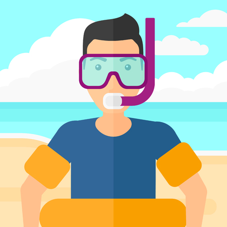 rubber ring: A man standing in mask, tube and rubber ring on the background of sand beach with blue sea vector flat design illustration. Square layout.