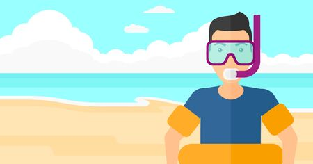 rubber ring: A man standing in mask, tube and rubber ring on the background of sand beach with blue sea vector flat design illustration. Horizontal layout.