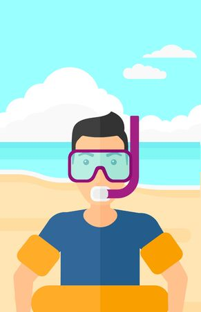 rubber ring: A man standing in mask, tube and rubber ring on the background of sand beach with blue sea vector flat design illustration. Vertical layout.