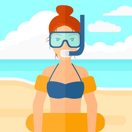 rubber tube: A woman standing in mask, tube and rubber ring on the background of sand beach with blue sea vector flat design illustration. Square layout. Illustration