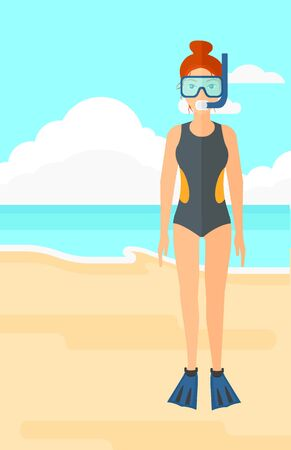 flippers: A woman standing in swimsuit, flippers, mask and tube on the background of sand beach with blue sea vector flat design illustration. Vertical layout.