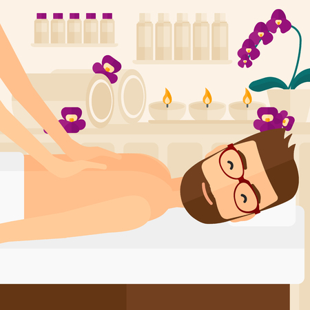 A hipster man with the beard getting a back massage on the background of spa center vector flat design illustration. Square layout. Illustration