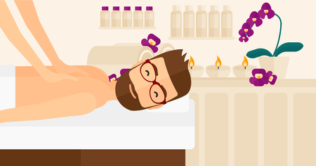 A hipster man with the beard getting a back massage on the background of spa center vector flat design illustration. Horizontal layout. Illustration