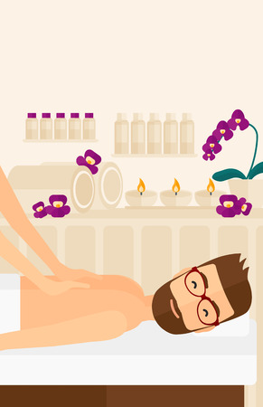 A hipster man with the beard getting a back massage on the background of spa center vector flat design illustration. Vertical layout.