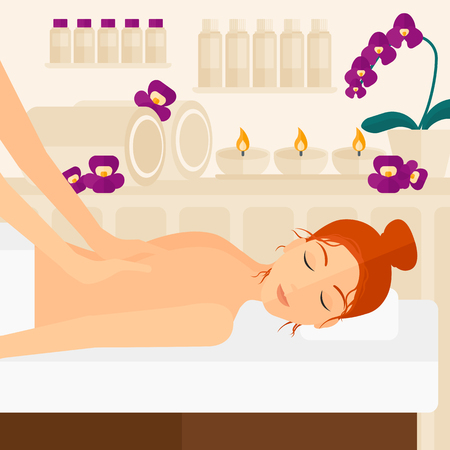 A woman getting a back massage on the background of spa center vector flat design illustration. Square layout.