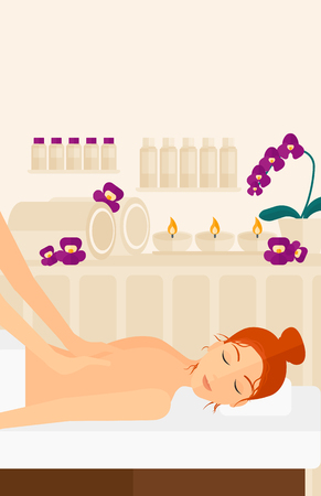 A woman getting a back massage on the background of spa center vector flat design illustration. Vertical layout.